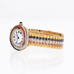 Cartier TRINITY 18K TRI COLOR 2357 SAPPHIRE RUBY AND DIAMOND LADIES WRIST WATCH - 1869922