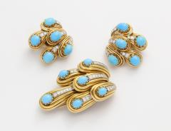Cartier Turquoise and Diamond Brooch Earring Set in 18K gold by Cartier Paris - 111682