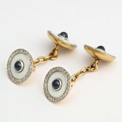 Cartier Vintage Cartier Agate Diamond and Sapphire Cufflinks - 1221619