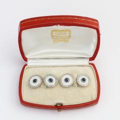 Cartier Vintage Cartier Agate Diamond and Sapphire Cufflinks - 1221625