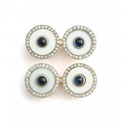 Cartier Vintage Cartier Agate Diamond and Sapphire Cufflinks - 1221843