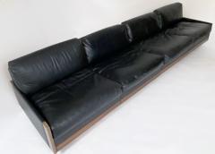 Cassina Afra Tobia Scarpa Black Leather 4 Seat Sofa for Cassina Model 920 1970s - 1844606