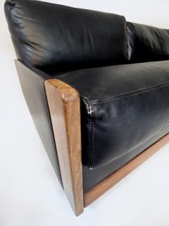Cassina Afra Tobia Scarpa Black Leather 4 Seat Sofa for Cassina Model 920 1970s - 1844610