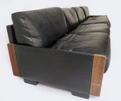 Cassina Afra Tobia Scarpa Black Leather 4 Seat Sofa for Cassina Model 920 1970s - 1844611