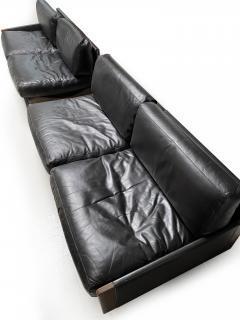 Cassina Afra Tobia Scarpa Black Leather 4 Seat Sofa for Cassina Model 920 1970s - 1844612