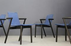 Cassina Cassina chairs blue set of four in black lacquered wood Post Modern 1980s - 1255790