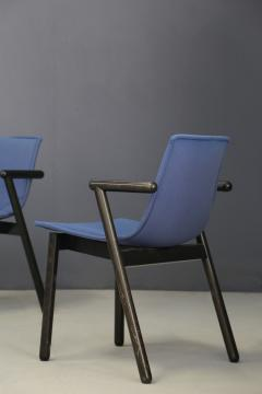 Cassina Cassina chairs blue set of four in black lacquered wood Post Modern 1980s - 1255793