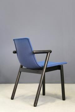 Cassina Cassina chairs blue set of four in black lacquered wood Post Modern 1980s - 1255797