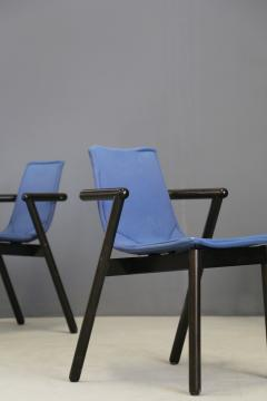 Cassina Cassina chairs blue set of four in black lacquered wood Post Modern 1980s - 1255798