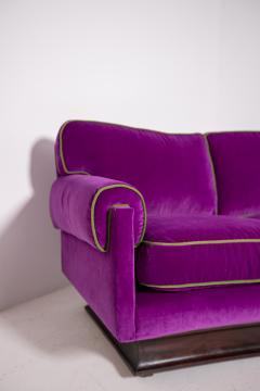 Cassina Italian Sof by Cassina in purple Velvet and green 1950s - 1910998