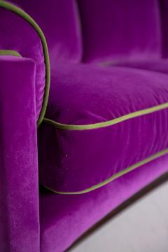 Cassina Italian Sof by Cassina in purple Velvet and green 1950s - 1911002