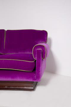 Cassina Italian Sof by Cassina in purple Velvet and green 1950s - 1911004