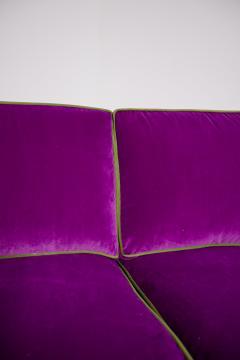Cassina Italian Sof by Cassina in purple Velvet and green 1950s - 1911005