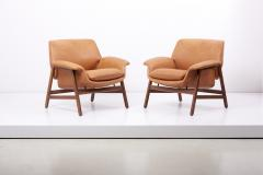 Cassina Lounge Chairs Model 849 by Gianfranco Frattini in Leather Italy 1950s - 1700990
