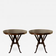 Cassina Pair of Cassina 1950s Italian Wood And Glass Circular Side or End Tables - 770548