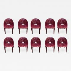 Cassina Set of 10 Dining Leather Chairs for Cassina Studio Italy 1970s - 1579229