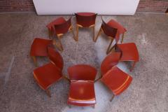 Cassina Set of Eight Josep Llusca Cos Chairs for Cassina in Red Leather and Beechwood - 1646202