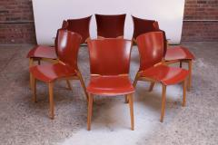 Cassina Set of Eight Josep Llusca Cos Chairs for Cassina in Red Leather and Beechwood - 1646206