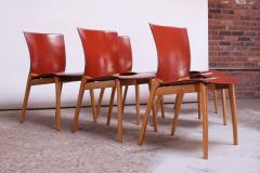 Cassina Set of Eight Josep Llusca Cos Chairs for Cassina in Red Leather and Beechwood - 1646207
