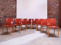 Cassina Set of Eight Josep Llusca Cos Chairs for Cassina in Red Leather and Beechwood - 1646212