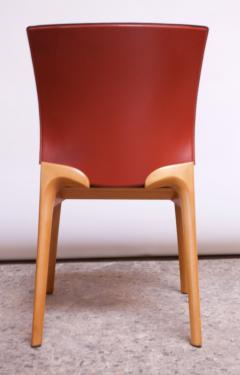 Cassina Set of Eight Josep Llusca Cos Chairs for Cassina in Red Leather and Beechwood - 1646217