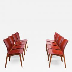 Cassina Set of Eight Josep Llusca Cos Chairs for Cassina in Red Leather and Beechwood - 1648106