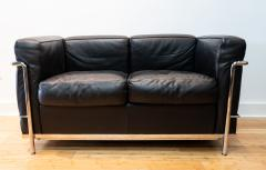 Cassina Vintage Le Corbusier LC2 Petit Modele Two Seat Sofa by Cassina Black Leather - 1038629