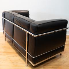 Cassina Vintage Le Corbusier LC2 Petit Modele Two Seat Sofa by Cassina Black Leather - 1038630