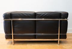 Cassina Vintage Le Corbusier LC2 Petit Modele Two Seat Sofa by Cassina Black Leather - 1038631