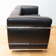 Cassina Vintage Le Corbusier LC2 Petit Modele Two Seat Sofa by Cassina Black Leather - 1038632