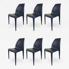Cattelan Italia Set of 6 Dark Blue Leather Chairs by Cattelan Italia - 741925