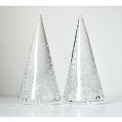 Cenedese 1980s Cenedese Italian Pair of Vintage Crystal Murano Glass Obelisks Sculptures - 1446034