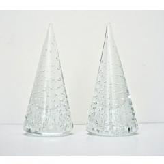 Cenedese 1980s Cenedese Italian Pair of Vintage Crystal Murano Glass Obelisks Sculptures - 1446040