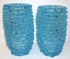Cenedese 2000s Cenedese Italian Pair of Aquamarine Blue Rostrato Murano Glass Ovoid Vases - 2076213