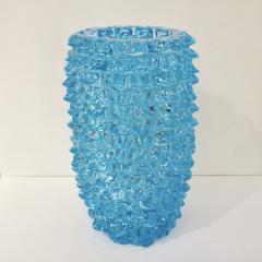 Cenedese 2000s Cenedese Italian Pair of Aquamarine Blue Rostrato Murano Glass Ovoid Vases - 2076215