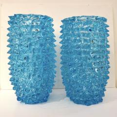 Cenedese 2000s Cenedese Italian Pair of Aquamarine Blue Rostrato Murano Glass Ovoid Vases - 2076220
