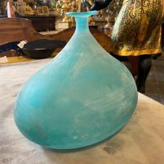 Cenedese Cenedese 1960s Blue Ocean Scavo Murano Glass Oval Vase - 2052876