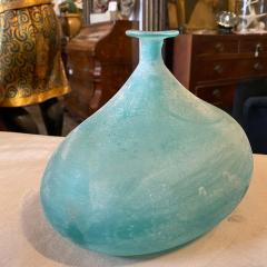 Cenedese Cenedese 1960s Blue Ocean Scavo Murano Glass Oval Vase - 2052878