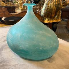 Cenedese Cenedese 1960s Blue Ocean Scavo Murano Glass Oval Vase - 2052879