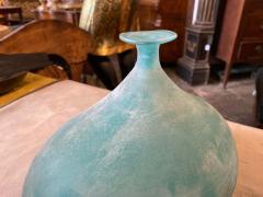 Cenedese Cenedese 1960s Blue Ocean Scavo Murano Glass Oval Vase - 2052880