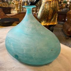 Cenedese Cenedese 1960s Blue Ocean Scavo Murano Glass Oval Vase - 2052881