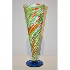 Cenedese Cenedese 1970 Pair of White Green Orange Murano Glass Conical Vases on Blue Base - 852412