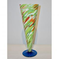 Cenedese Cenedese 1970 Pair of White Green Orange Murano Glass Conical Vases on Blue Base - 852413