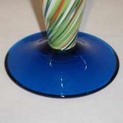 Cenedese Cenedese 1970 Pair of White Green Orange Murano Glass Conical Vases on Blue Base - 852414