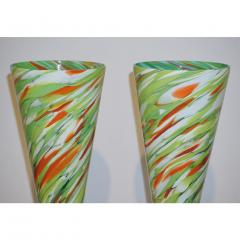 Cenedese Cenedese 1970 Pair of White Green Orange Murano Glass Conical Vases on Blue Base - 852416