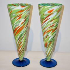 Cenedese Cenedese 1970 Pair of White Green Orange Murano Glass Conical Vases on Blue Base - 852417
