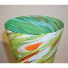Cenedese Cenedese 1970 Pair of White Green Orange Murano Glass Conical Vases on Blue Base - 852418