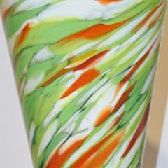 Cenedese Cenedese 1970 Pair of White Green Orange Murano Glass Conical Vases on Blue Base - 852419