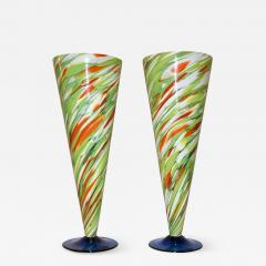 Cenedese Cenedese 1970 Pair of White Green Orange Murano Glass Conical Vases on Blue Base - 853408