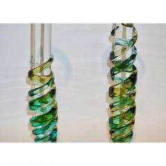 Cenedese Cenedese 1970s Vintage Italian Yellow Green Aqua Blue Murano Glass Candlesticks - 483374